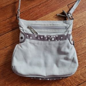 Thirty-one Crossbody Purse Gray Daisies